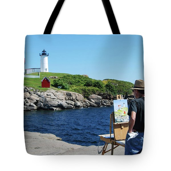 Painting Nubble Lighthouse Tote Bag