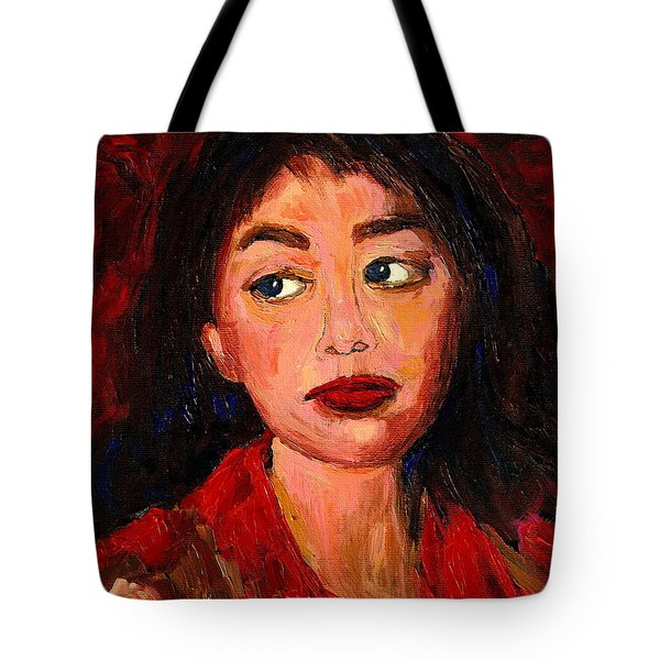 Painting Of A Dark Haired Girl Commissioned Art Tote Bag by Carole Spandau