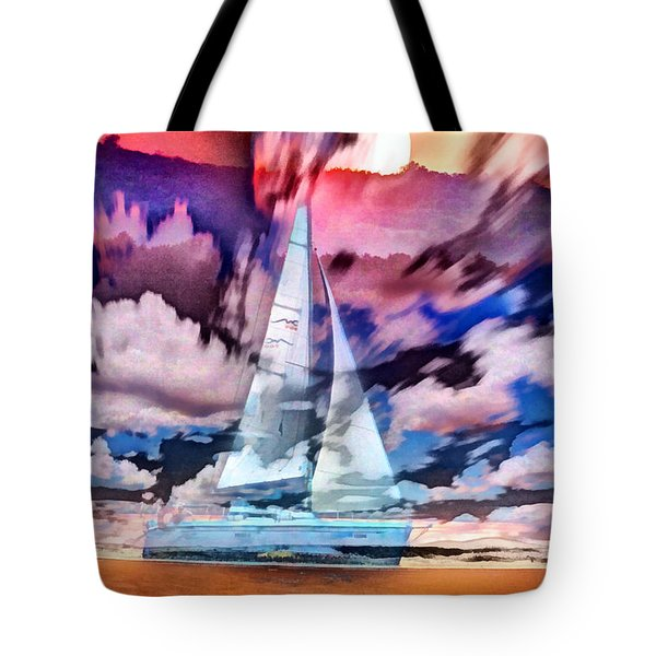 Painting Of Boats In Red Sunset Colors Tote Bag