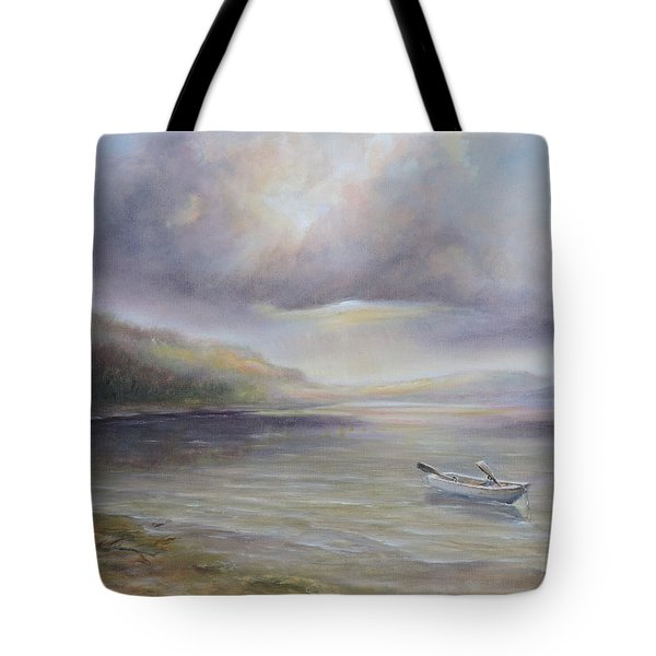 Beach By Sruce Run Lake In New Jersey At Sunrise With A Boat Tote Bag