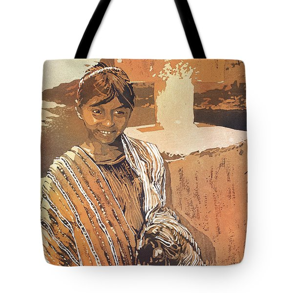 Painting Of Traditional Dressed Girl In Front Of Cross At Lake A Tote Bag