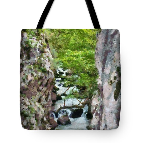 Painting Of Vouraikos Gorge Tote Bag