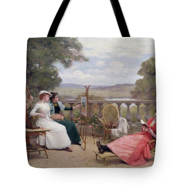 Painting On The Terrace Tote Bag by Jules Frederic Ballavoine