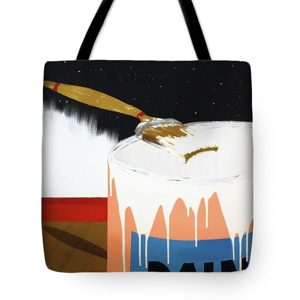 Tote Bag featuring the painting Painting Out The Sky by Thomas Blood
