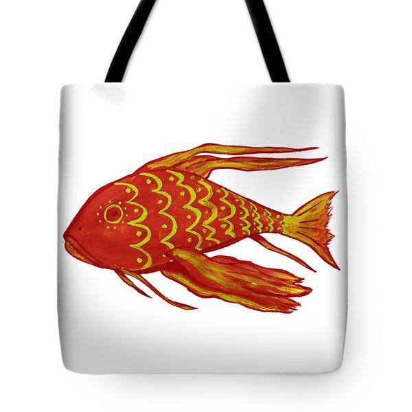 Painting Red Fish Tote Bag