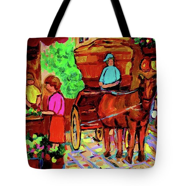 Paintings Of Montreal Streets Old Montreal With Flower Cart And Caleche By Artist Carole Spandau Tote Bag by Carole Spandau