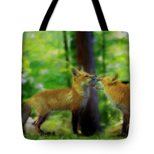 Paintography Communicating With Each Other Tote Bag