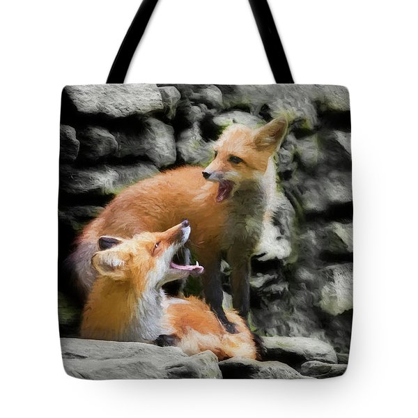 Paintography Communication On The Rocks Tote Bag