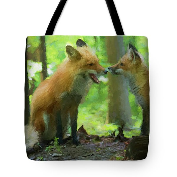 Paintography Red Fox And His Kit Tote Bag