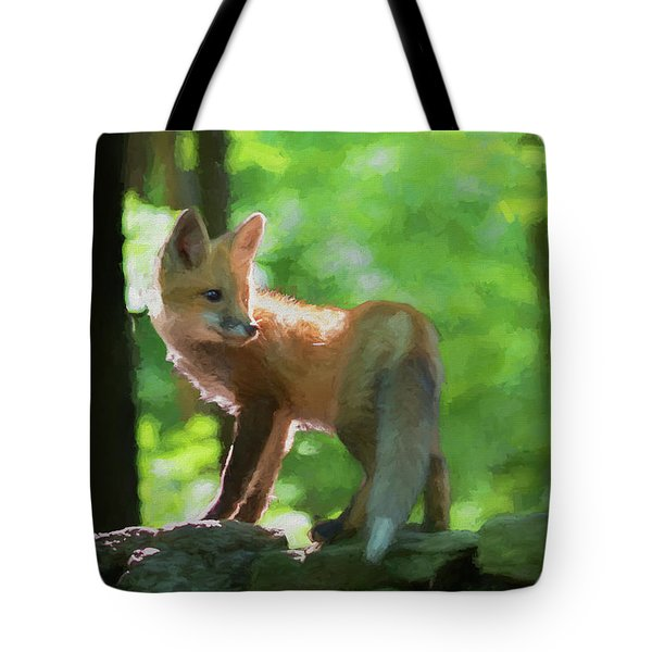 Paintography Red Fox On Top Of Rocks Tote Bag