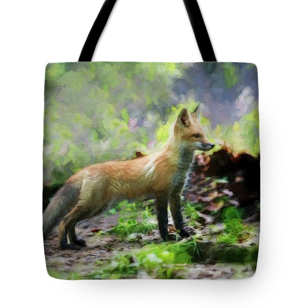 Paintography Red Fox Standing Straight Tote Bag