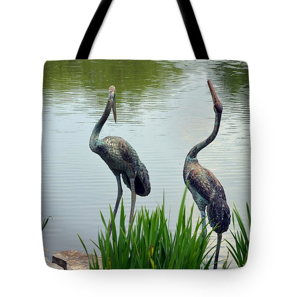 Pair Of Garden Herons Tote Bag