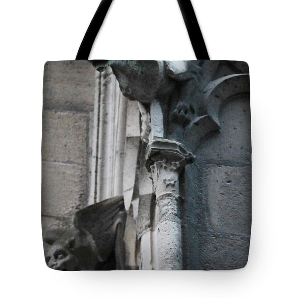 Pair Of Griffons Of Notre Dame Tote Bag