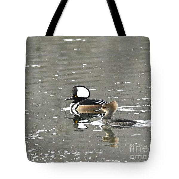 Tote Bag featuring the photograph Pair Of Hooded Mergansers by Larry Ricker