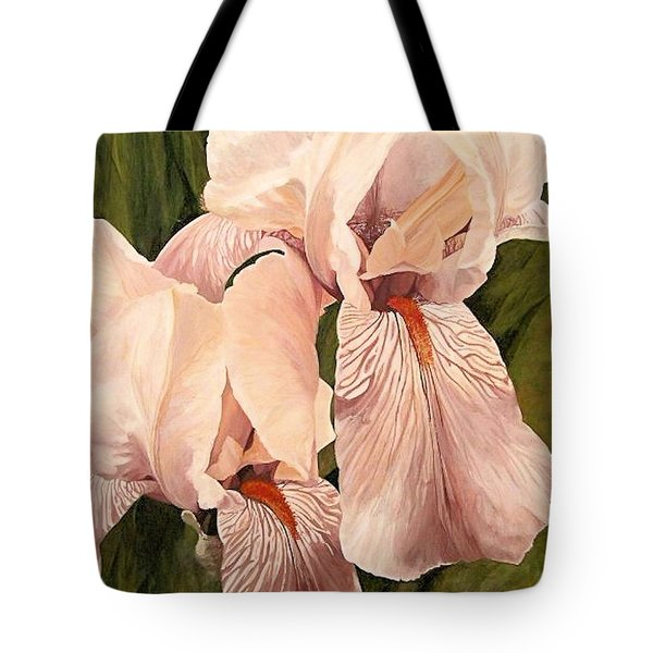 Tote Bag featuring the painting Pair Of Peach Iris  by Laurie Rohner