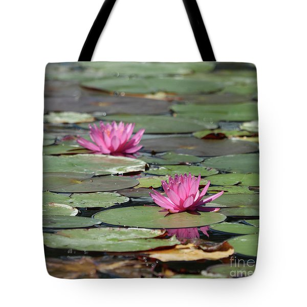 Pair Of Pink Pond Lilies Tote Bag