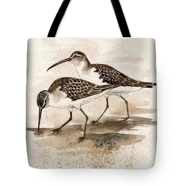 Pair Of Sandpipers Tote Bag by Nancy Patterson