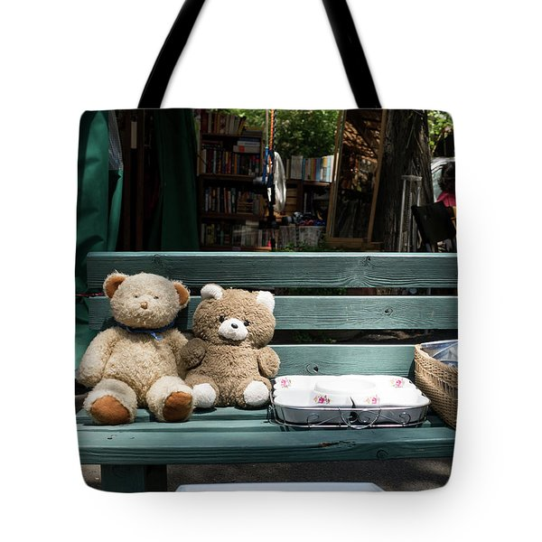 Teddy Bear Lovers On The Banch Tote Bag by Yoel Koskas