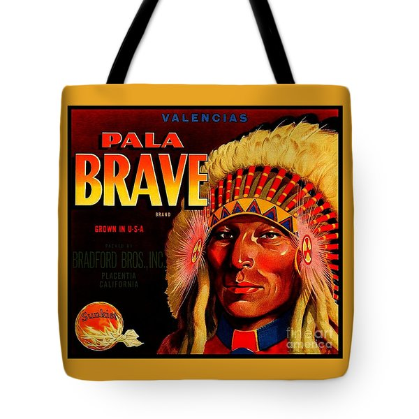 Tote Bag featuring the painting Pala Brave 1920s Sunkist Oranges by Peter Gumaer Ogden