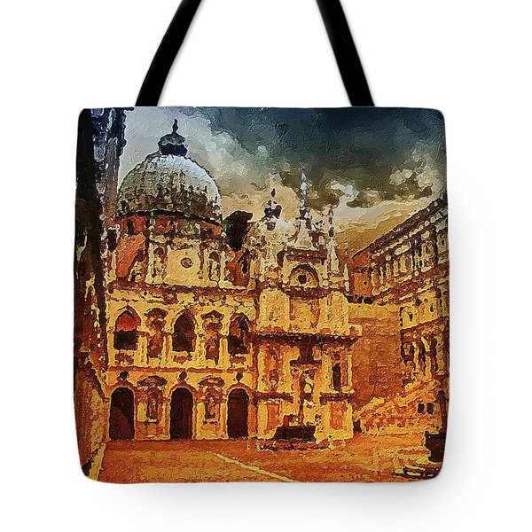 Tote Bag featuring the digital art Palace Painting by PixBreak Art