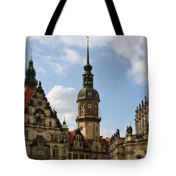 Palace Square In Dresden Tote Bag by Christine Till