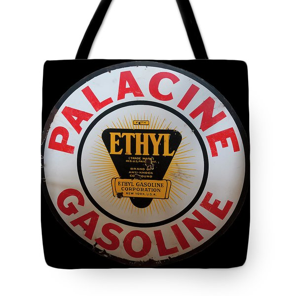 Tote Bag featuring the photograph Palacine Gasoline Sign by Chris Flees