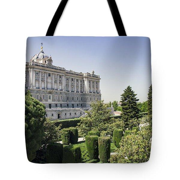 Palacio Real De Madrid And Plaze De Oriente Tote Bag