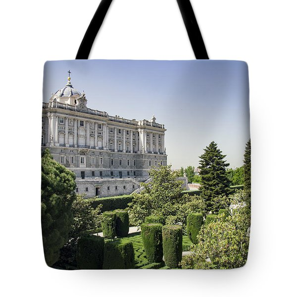 Palacio Real De Madrid And Plaze De Oriente Tote Bag by Ross G Strachan