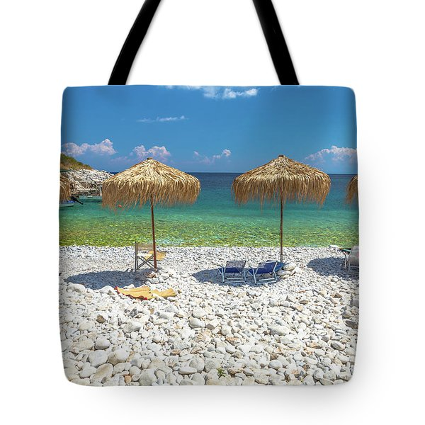 Tote Bag featuring the photograph Palapa Umbrellas by Benny Marty