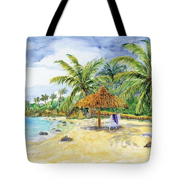 Palappa N Adirondack Chairs On A Caribbean Beach Tote Bag