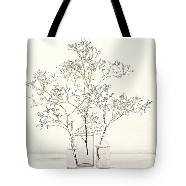 Pale Blue Flowers On White Tote Bag