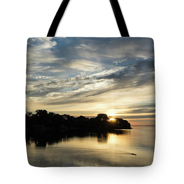 Pale Gold Sunrays - A Cloudy Sunrise With Two Ducks Tote Bag