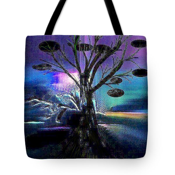 Tote Bag featuring the digital art Pale Moonlight by Yul Olaivar