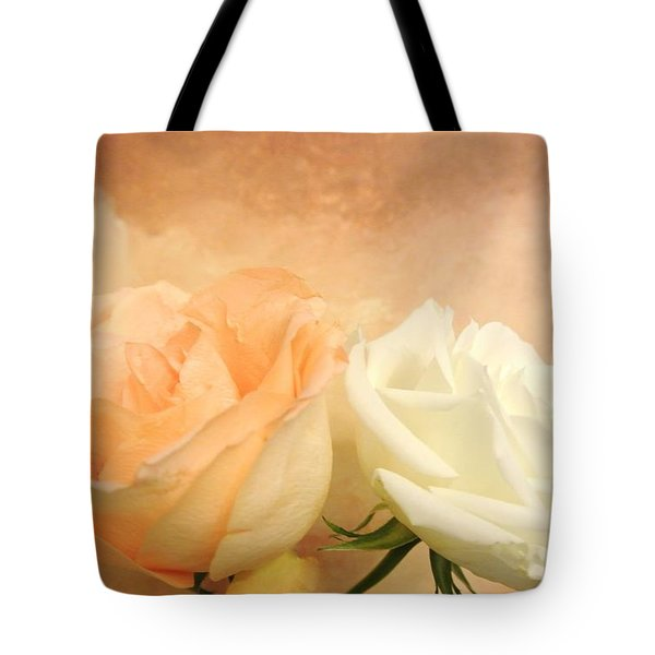 Pale Peach And White Roses Tote Bag