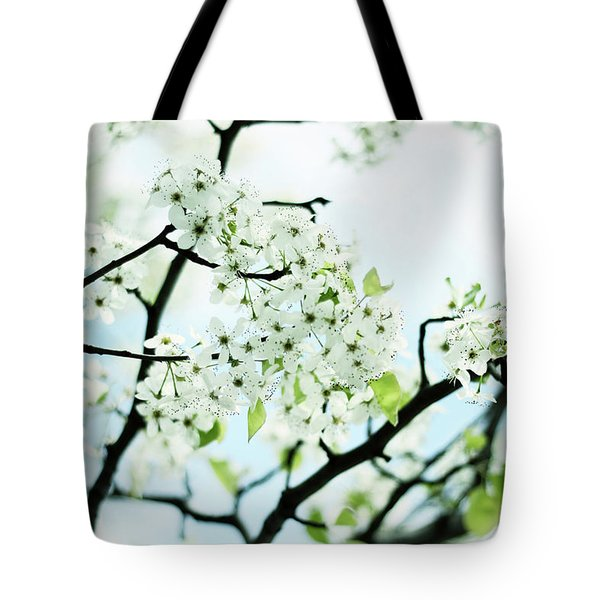 Tote Bag featuring the photograph Pale Pear Blossom by Jessica Jenney