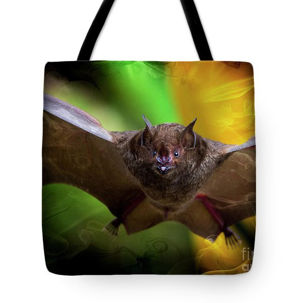 Tote Bag featuring the photograph Pale Spear-nosed Bat In The Amazon Jungle by Al Bourassa