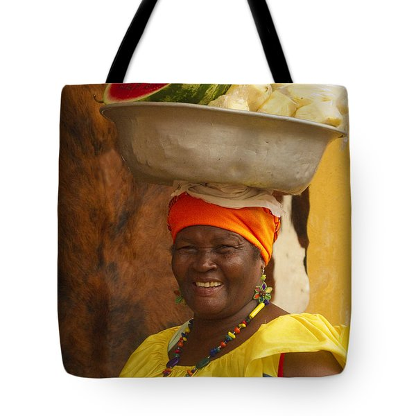 Palenquera In Cartagena Colombia Tote Bag by David Smith