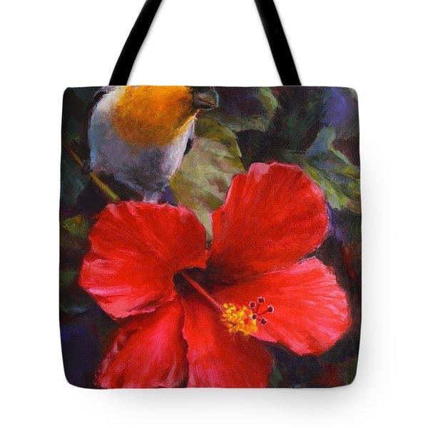 Palila And Hibiscus - Hawaiian Painting Tote Bag