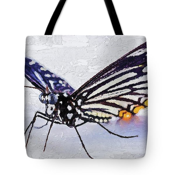 Tote Bag featuring the digital art Pallete Knife Painting Blue Butterfly by PixBreak Art