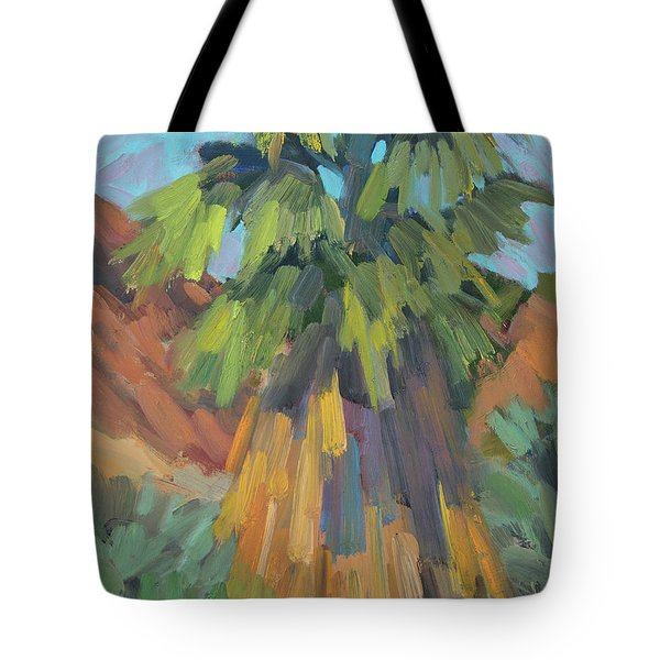 Tote Bag featuring the painting Palm At Santa Rosa Mountains Visitors Center by Diane McClary