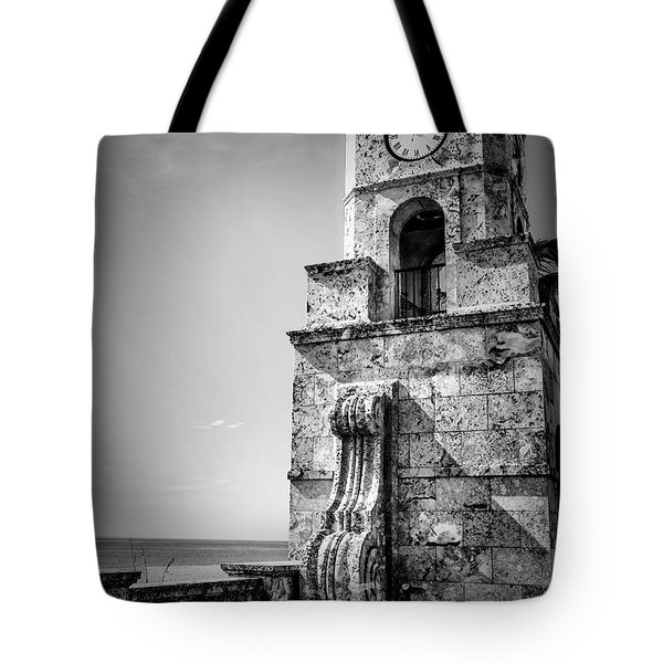 Palm Beach Clock Tower In Black And White Tote Bag