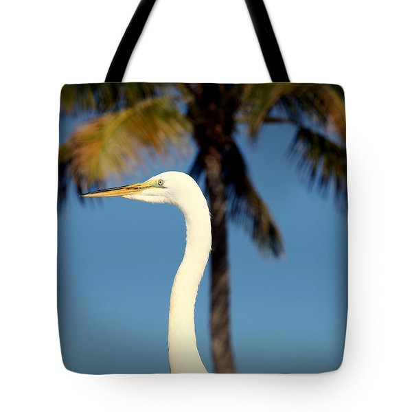 Palm Egret Tote Bag