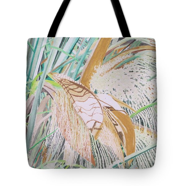 Tote Bag featuring the painting Palm Flowers by Hilda and Jose Garrancho