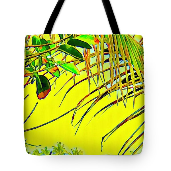 Palm Fragment In Yellow Tote Bag