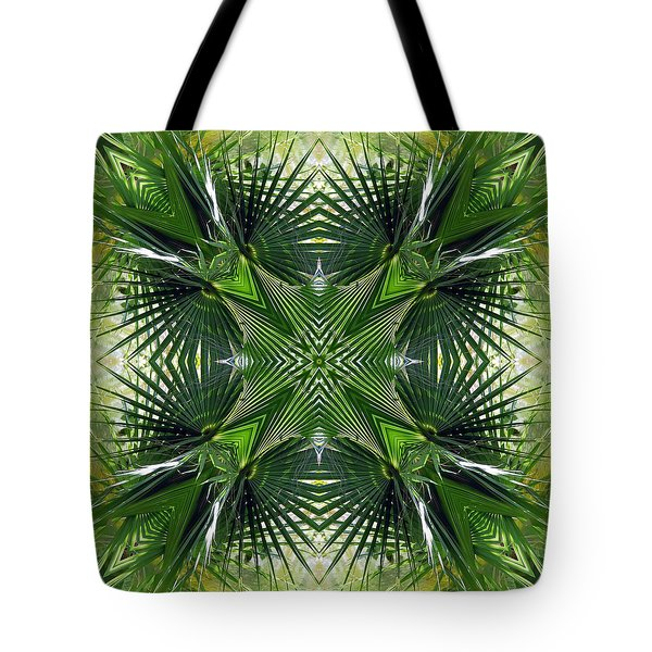 Palm Frond Kaleidoscope Tote Bag by Francesa Miller