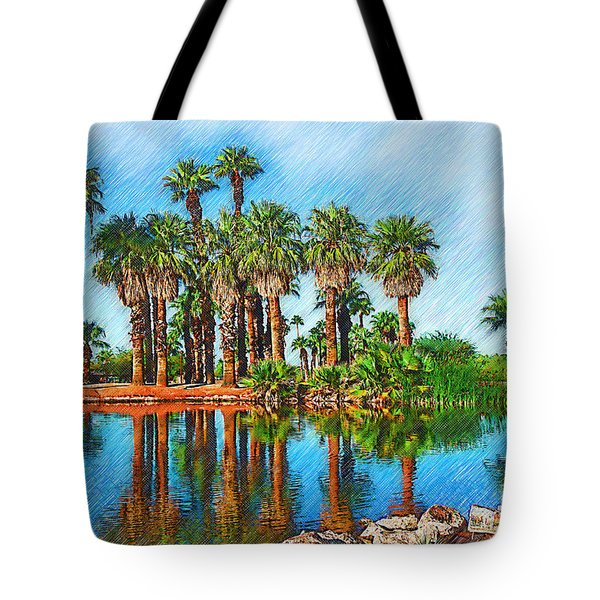 Palm Reflections Sketched Tote Bag