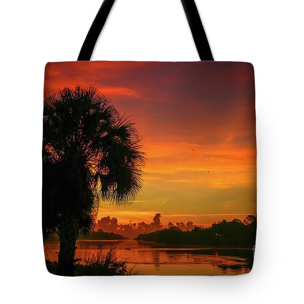 Tote Bag featuring the photograph Palm Silhouette Sunrise by Tom Claud