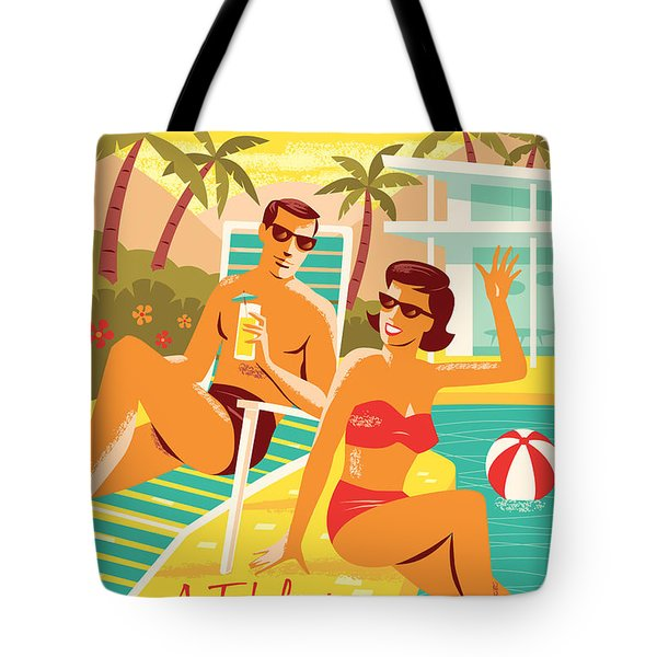 Palm Springs Retro Travel Poster Tote Bag