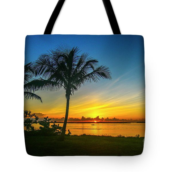 Palm Tree And Boat Sunrise Tote Bag
