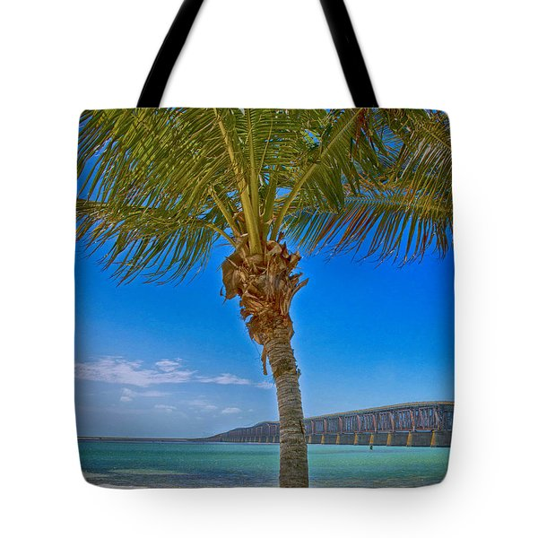 Tote Bag featuring the photograph Palm Tree Bridge And Sand by Paula Porterfield-Izzo